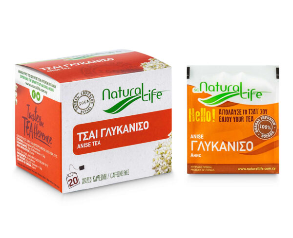 Natural Life Anise Herbal Tea Infusion x 20 Tea Bags Front With Tea Bag