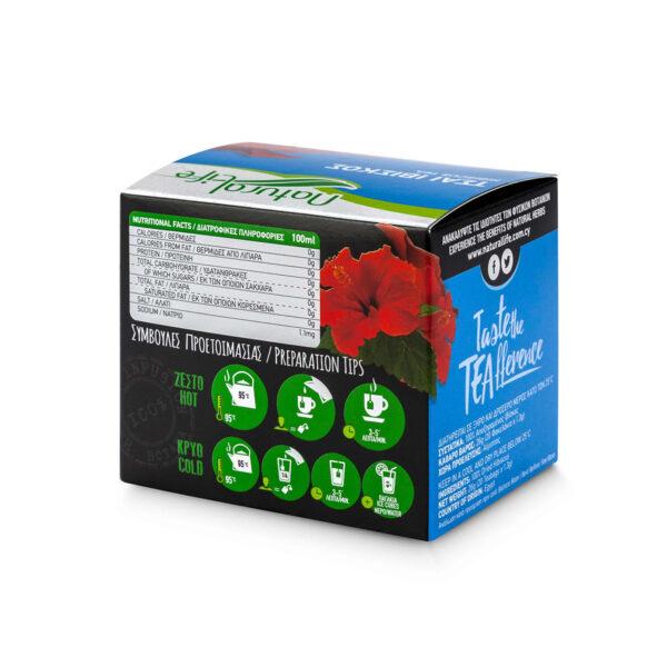 Natural Life Hibiscus Herbal Tea Infusion x 20 Tea Bags Back