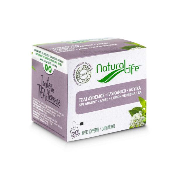 Natural Life Spearmint, Anise & Lemon Verbena Herbal Tea Infusion x 20 Tea Bags Side