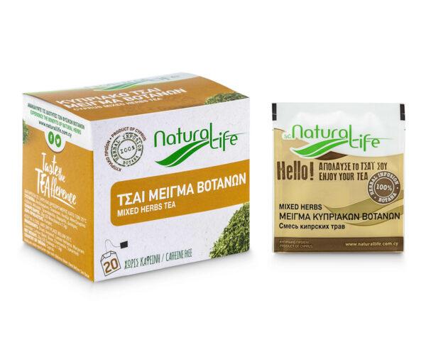 Natural Life Mixed Herb Tea Infusion x 20 Tea Bags Front With Tea Bag
