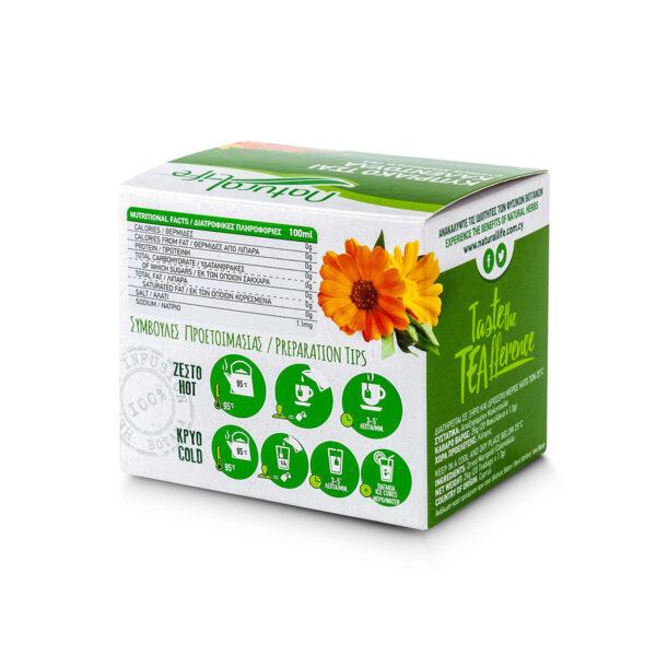Natural Life Marigold Herbal Tea Infusion x 20 Tea Bags Back