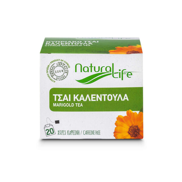 Natural Life Marigold Herbal Tea Infusion x 20 Tea Bags Front