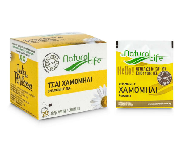 Natural Life Chamomile Herbal Infusion Tea Side With Bag