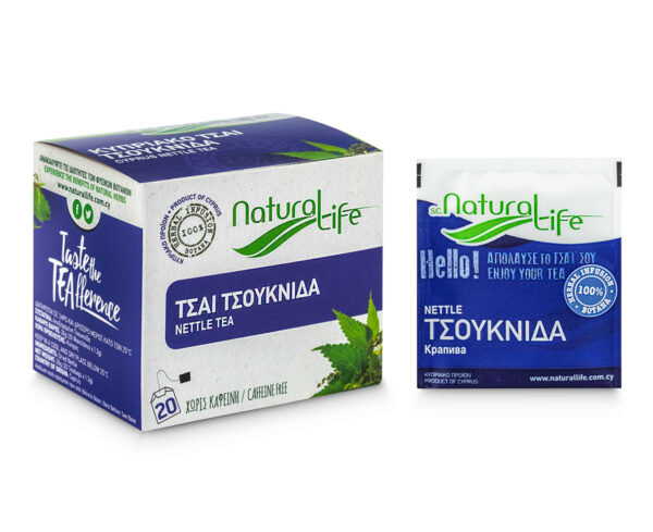 Natural Life Nettle Herbal Tea Infusion x 20 Tea Bags Front With Tea Bag