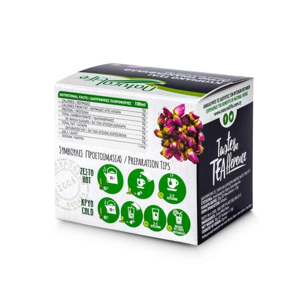 Natural Life Wild Rose Herbal Tea Infusion x 20 Tea Bags Back