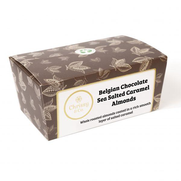 Chrissy & Co. Belgian Chcolate Sea Salt Caramel Almonds Gift Box